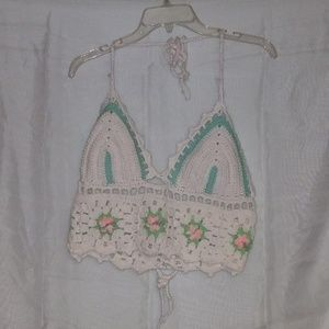 Women floral white and green crop-top